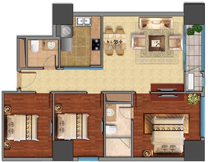 Thiết kế căn hộ 3 phòng ngủ tại Vinhomes Galaxy 1