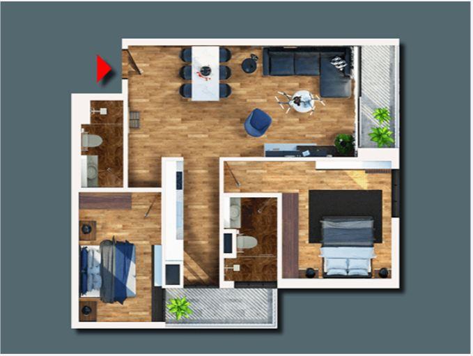 Mặt bằng căn hộ 02 phòng ngủ tại Bohemia Residence