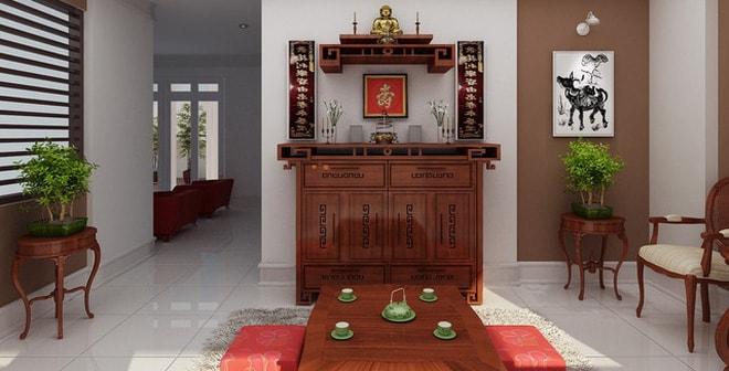 Đặt bàn thờ trong phòng khách